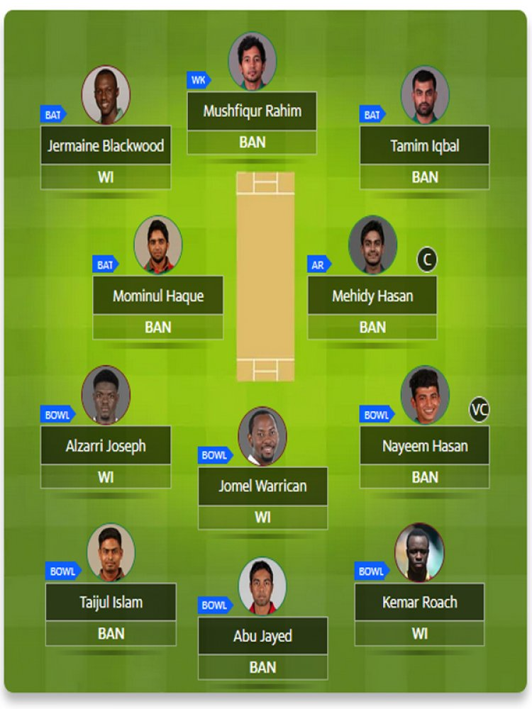 Bangladesh vs West Indies Fantasy Suggestions Recommended XI